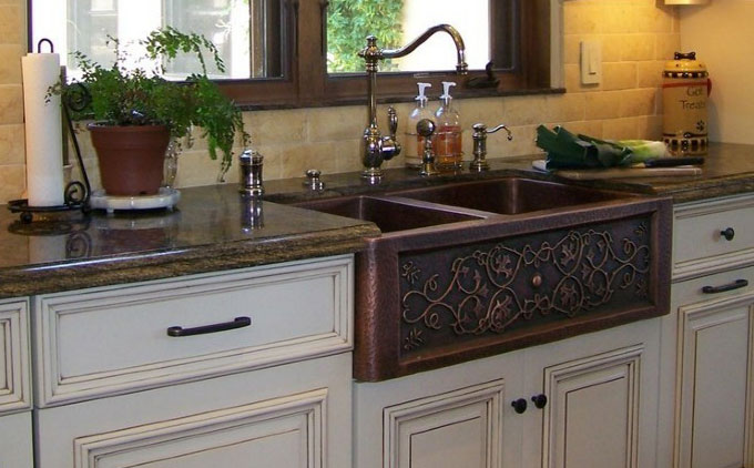 Kitchen with Copper Farmhouse Sink